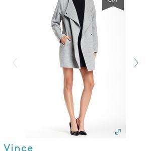 Vince black funnel neck cardigan coat M